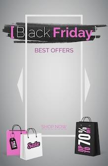 Zwarte vrijdag beste aanbiedingen webbanner vector sjabloon. boodschappentas met verkooplabel. grote korting advertentie poster lay-out met roze tekst. seizoensgebonden verkooppromo in wit frame. marketing en promotie