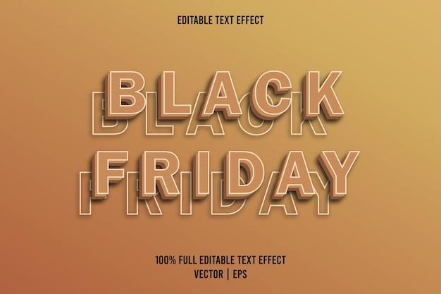 Zwarte vrijdag bewerkbare teksteffect bruine kleur