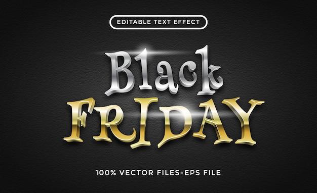 Zwarte vrijdag bewerkbare teksteffect premium vectoren