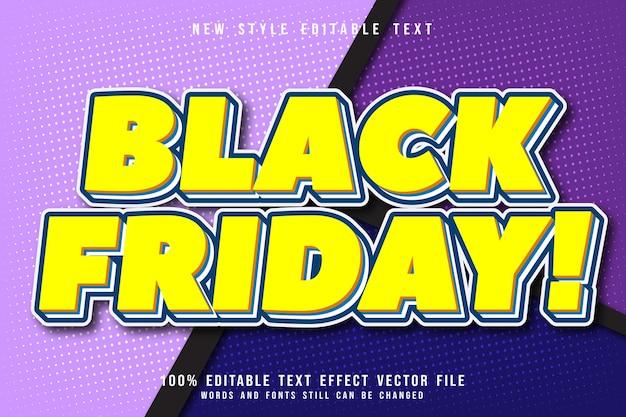 Zwarte vrijdag bewerkbare teksteffect reliëf cartoon stijl