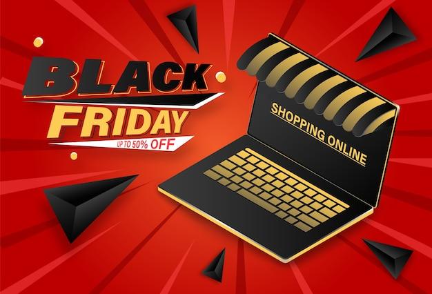 Zwarte vrijdag die online banner op computerlaptop winkelt.