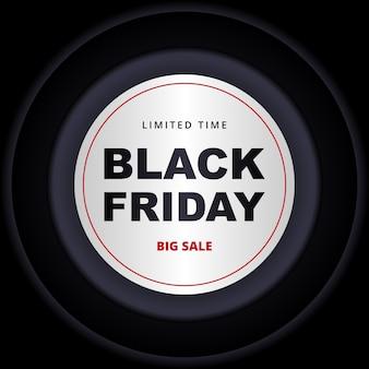 Zwarte vrijdag donkere banner. sjabloon voor zwart spandoek met witte en donkergrijze cirkels op zwarte achtergrond.