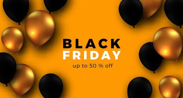Zwarte vrijdag elegante poster sjabloon voor spandoek met 3d gouden en zwarte ballon met gele achtergrond