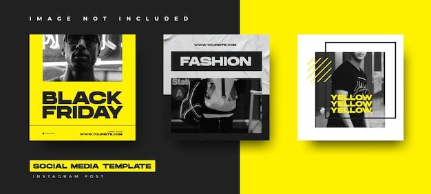 Zwarte vrijdag evenement instagram post collectie ontwerpsjabloon met gele kleur