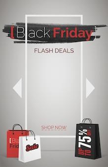 Zwarte vrijdag flash deals webbanner vector sjabloon. seizoensgebonden kortingsaanbieding. tot 75 procent korting. boodschappentassen 3d-ontwerpelementen. koopje, goede koop. stijlvolle tekst op zwarte inktvlekachtergrond