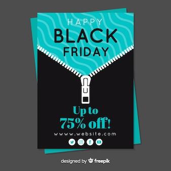 Zwarte vrijdag flyer folder sjabloon met zip