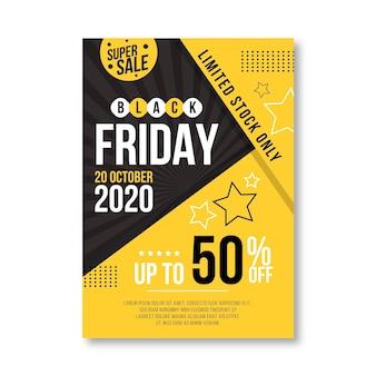 Zwarte vrijdag folder sjabloon in plat ontwerp