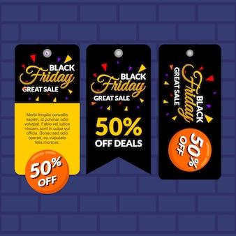 Zwarte vrijdag gele hang tag verkoop banner