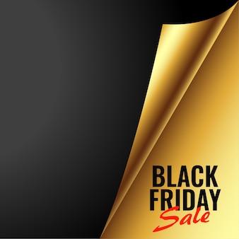 Zwarte vrijdag gouden verkoopbanner in papierkrulstijl