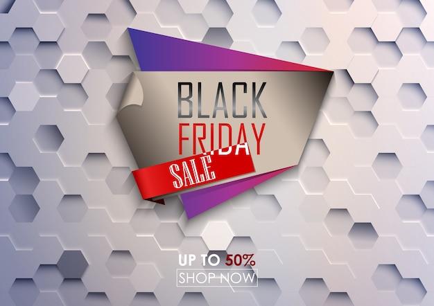Zwarte vrijdag grote verkoop poster met witte zeshoekige achtergrond