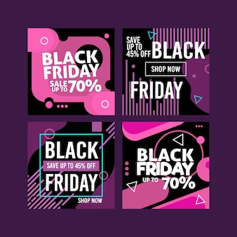 Zwarte vrijdag instagram-berichten in plat ontwerp