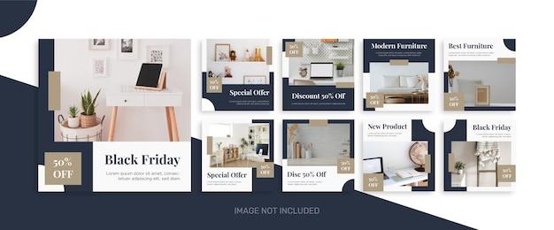 Zwarte vrijdag instagram postcollectie voor meubelverkoop Premium Vector