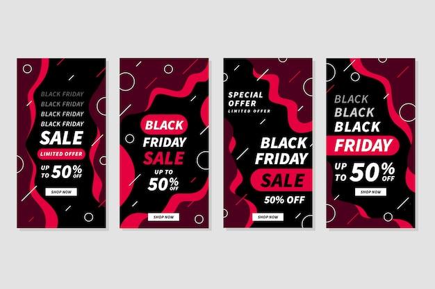 Zwarte vrijdag instagram-verhalen in plat ontwerp
