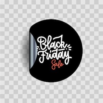 Zwarte vrijdag kalligrafie letters op zwarte sticker. illustratie afdrukken voor winkel- en marktevenement, web, applicatie, verkoop. cool handgetekend label met transparante schaduw.