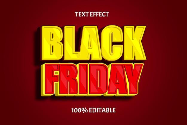 Zwarte vrijdag kleur geel rood bewerkbaar teksteffect