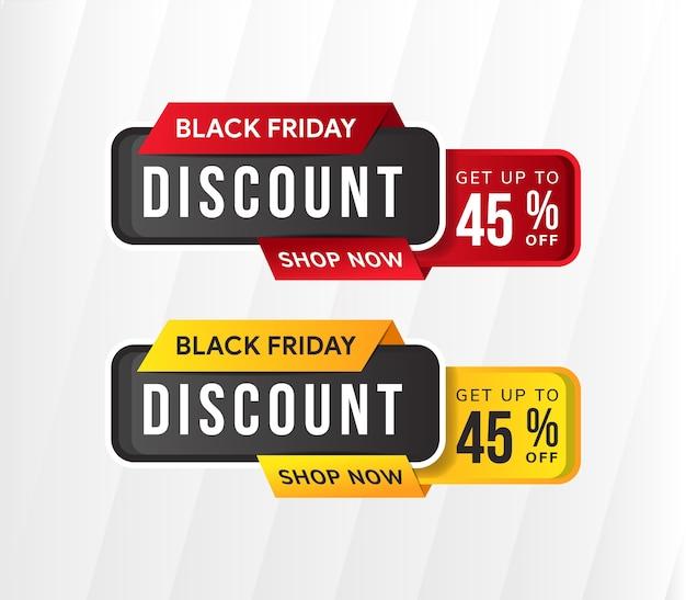 Zwarte vrijdag korting element banner ontwerpsjabloon