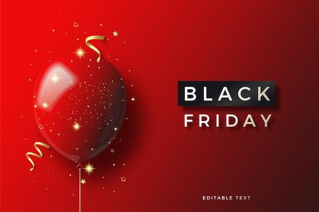 Zwarte vrijdag met 3d rode ballonillustratie met kleine gouden papiersnippers.