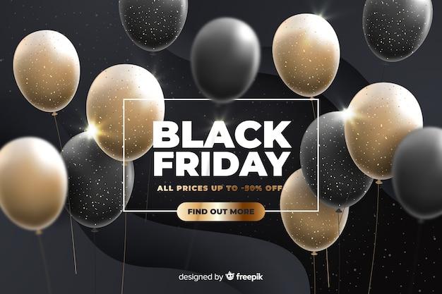 Zwarte vrijdag met realistische ballonnen