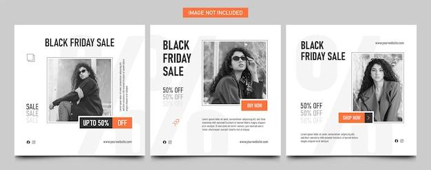 Zwarte vrijdag mode verkoop moderne instagram post banner vierkante sjabloon set