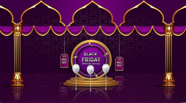 Zwarte vrijdag mooie wenskaartverkoop op de gouden etiketprijzen tot decoratie met kolom en podium