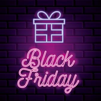Zwarte vrijdag neon banner met cadeau pictogram over muur