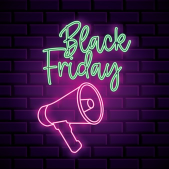 Zwarte vrijdag neon banner met megafoon over bakstenen muur achtergrond