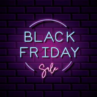 Zwarte vrijdag neon ontwerp cirkelvorm over muur