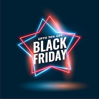 Zwarte vrijdag neon ster verkoop achtergrond