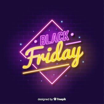 Zwarte vrijdag neon teken achtergrond