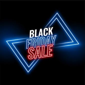 Zwarte vrijdag neon verkoop banner achtergrond