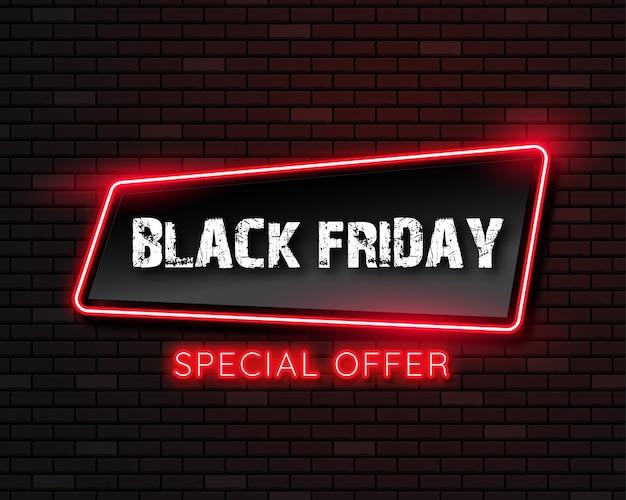 Zwarte vrijdag neonlicht banner. vectorillustratie