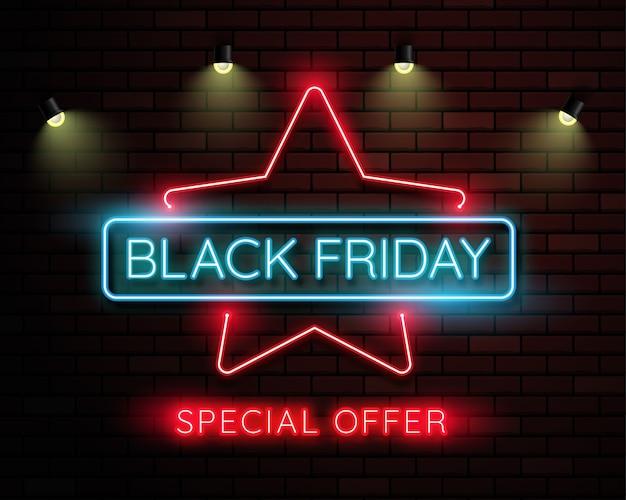 Zwarte vrijdag neonlicht banner