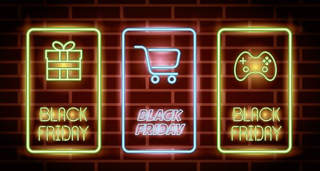 Zwarte vrijdag neonlichten etiketten met pictogrammen