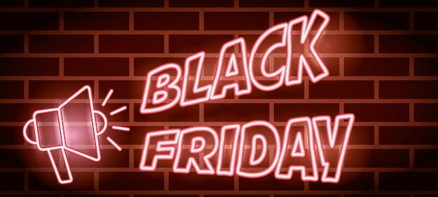 Zwarte vrijdag neonlichten label met megafoon