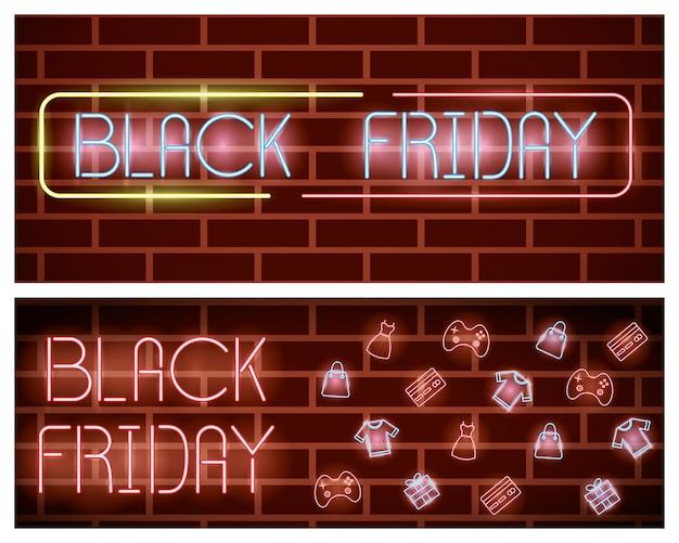 Zwarte vrijdag neonlichten label met set pictogrammen
