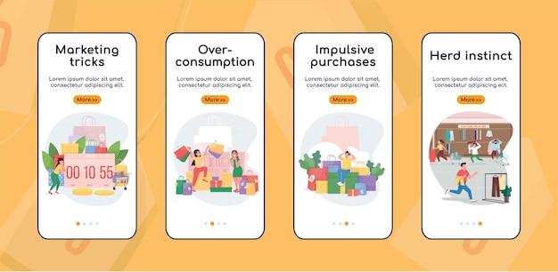 Zwarte vrijdag onboarding mobiele app platte schermsjabloon. impulsieve aankoop, kudde-instinct. doorloop websitestappen met tekens. ux, ui, gui cartoon-interface voor smartphones, set hoesjes