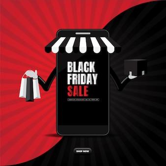Zwarte vrijdag online verkoop met smartphone-shopping