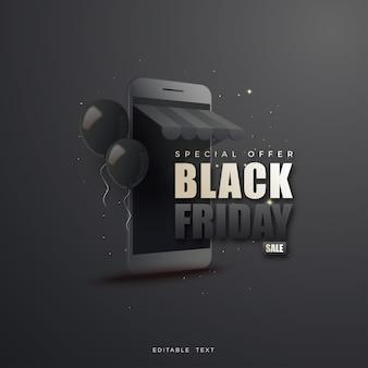 Zwarte vrijdag online winkelen illustratie