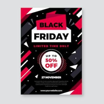 Zwarte vrijdag platte ontwerpsjabloon folder