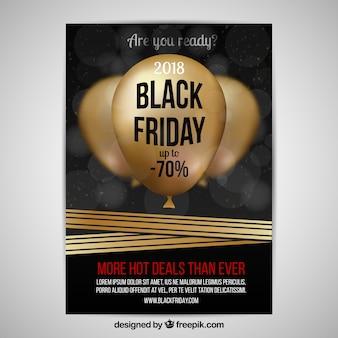 Zwarte vrijdag poster met gouden ballonnen