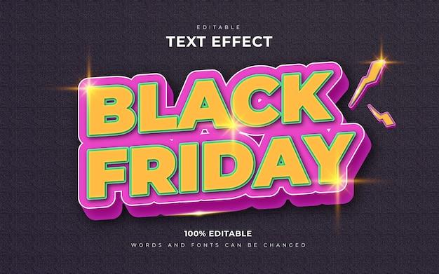 Zwarte vrijdag retro bewerkbare stijlsjabloon voor teksteffect