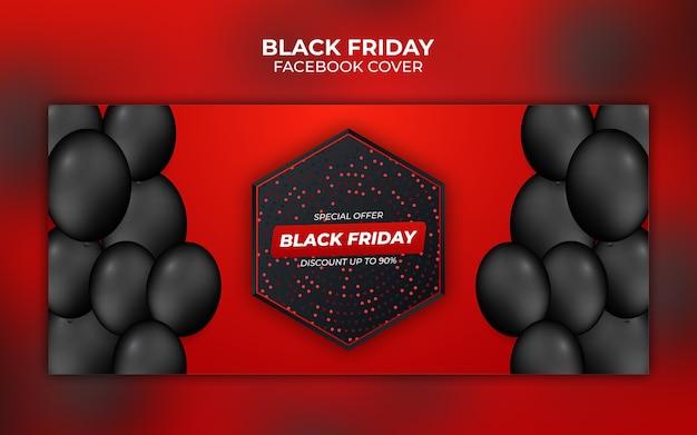Zwarte vrijdag rode en zwarte gradiënt facebook omslagbanner