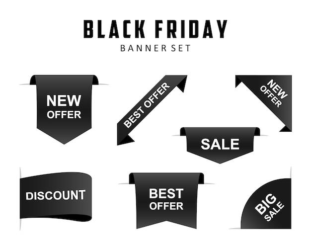 Zwarte vrijdag set zwarte linten banners op witte achtergrond. verkoop speciale aanbieding korting linten banners. vectorillustratie eps 10
