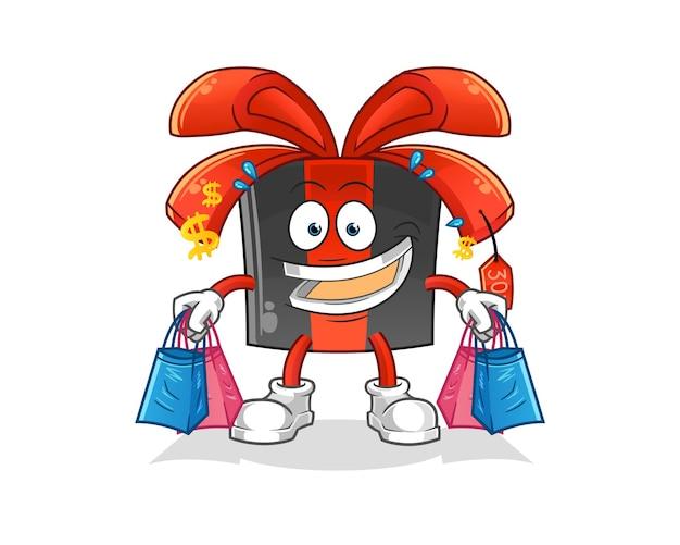Zwarte vrijdag shoping mascotte.