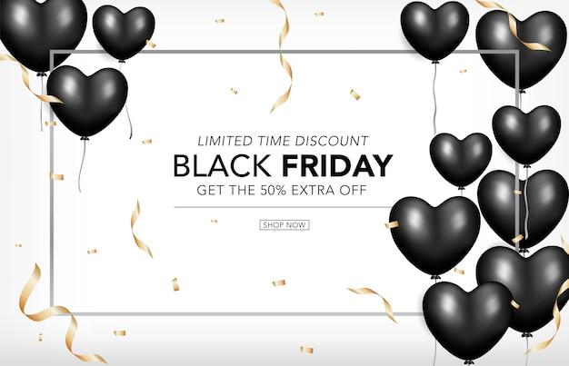 Zwarte vrijdag sjabloon banner met realistische hartvorm ballonnen