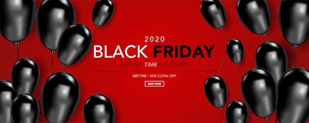 Zwarte vrijdag sjabloon banner met realistische zwarte ballonnen