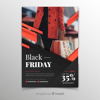 Zwarte vrijdag sjabloon folder in plat ontwerp