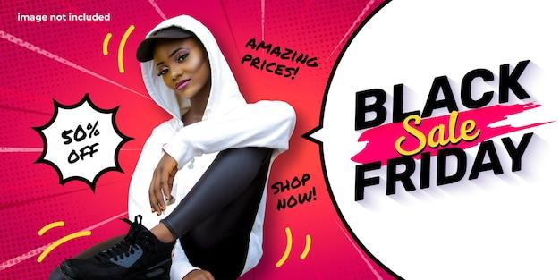 Zwarte vrijdag sjabloon voor spandoek met tekstballon en komische zoom achtergrond