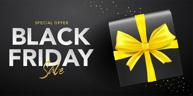Zwarte vrijdag sjabloon voor spandoek van doos met geel lint
