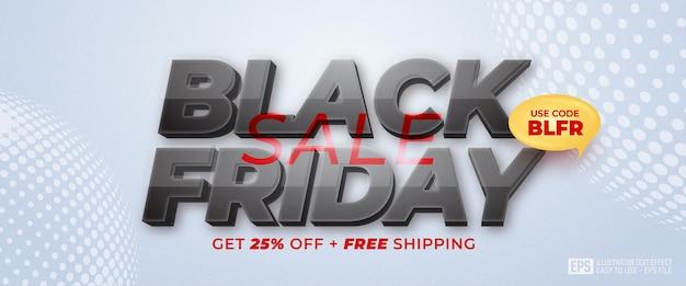 Zwarte vrijdag speciale aanbieding banner bewerkbare tekst 3d-effect